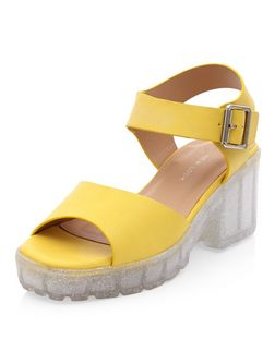 Teens Lime Green Glitter Chunky Jelly Block Heel Sandals  | New Look