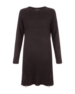 Black Ribbed Zip Hem Tunic Jumper Dress  | New Look