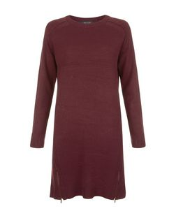Burgundy Ribbed Zip Hem Tunic Jumper Dress  | New Look