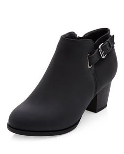 Wide Fit Black D-Ring Ankle Boots  | New Look