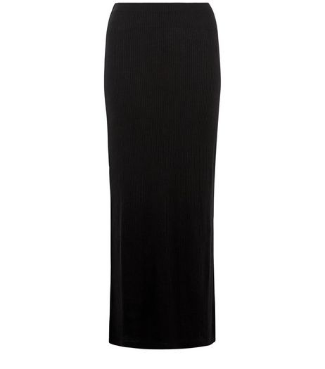 Petite Black Ribbed Split Side Maxi Skirt  | New Look