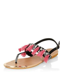 Black Aztec Tassel Sandals  | New Look