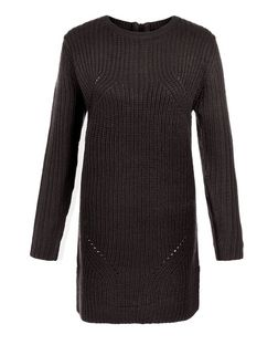 Black Ribbed Slouch Tunic Jumper | New Look