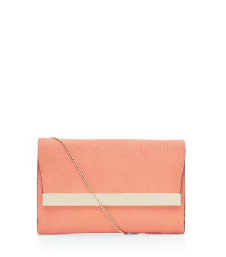 Coral Textured Metal Bar Front Clutch | New Look