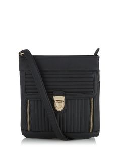 Black Quilted Push Lock Across Body Bag  | New Look