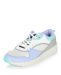 Teens Lilac Colour Block Lace Up Trainers  | New Look