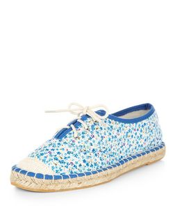 Teens Blue Floral Print Lace Up Espadrilles  | New Look