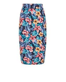 Blue Tropical Print Pencil Skirt  | New Look