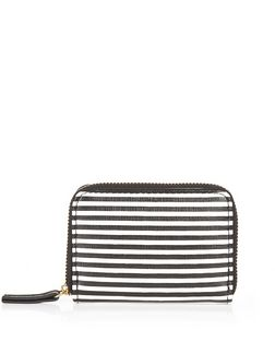 Black Stripe Zip Around Card Holder  | New Look