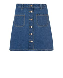 Navy Pocket Button Front A-Line Denim Skirt  | New Look
