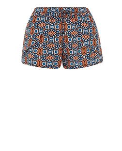 Blue Tile Print Runner Shorts  | New Look