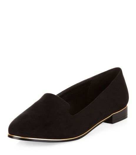 Wide Fit Black Gold Trim Pointed Pumps | New Look
