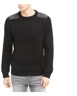 Black Shoulder Patch Waffle Knit Jumper  | New Look