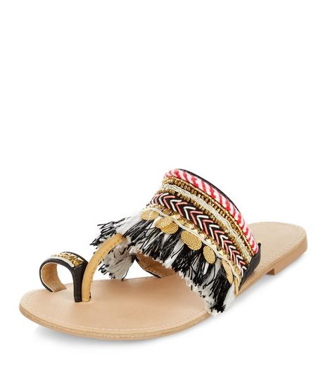 Multicoloured Coin Fringed Sandals  | New Look