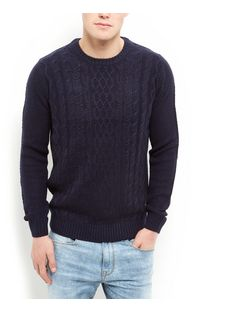 Navy Cable Knit Crew Neck Jumper  | New Look