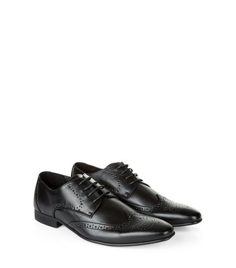 Black Lace Up Charlie Brogues | New Look