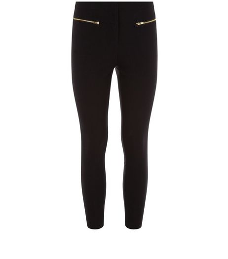Petite Black Zip Front Bengaline Trousers  | New Look