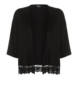 Teens Black Jersey Crochet Trim Kimono | New Look