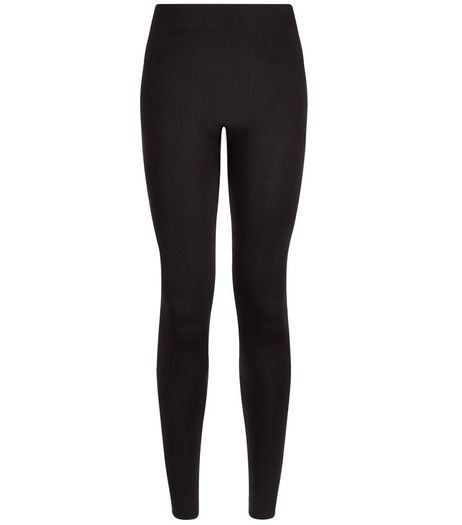 Black Cable Fleece Leggings | New Look