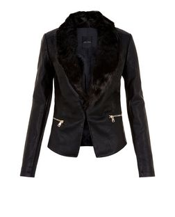 Black Faux Fur Collar Leather-Look Jacket  | New Look