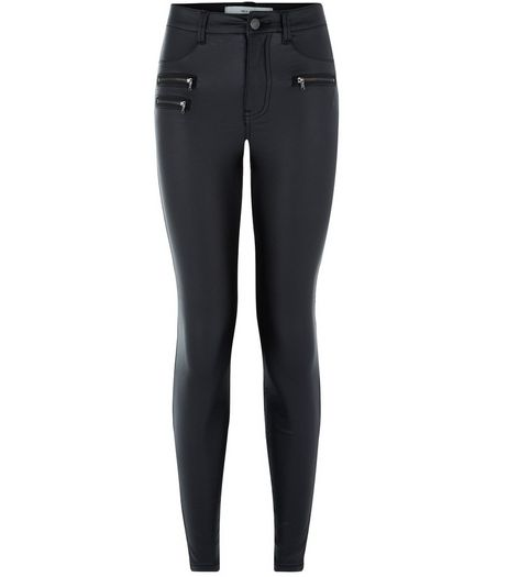 Black Coated Zip Front Skinny Jeans  | New Look