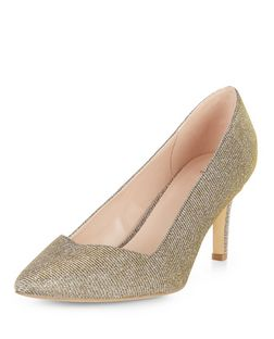 Wide Fit Gold Sweetheart Trim Pointed Court Shoes  | New Look