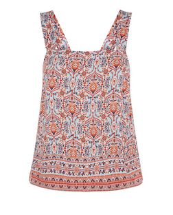 White Square Neck Abstract Print Cami  | New Look