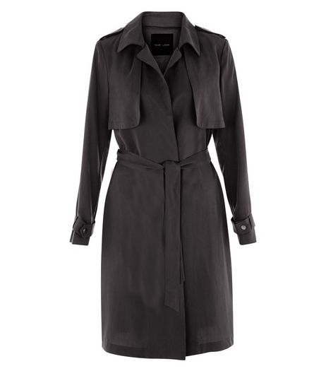 Black Drape Trench Coat  | New Look