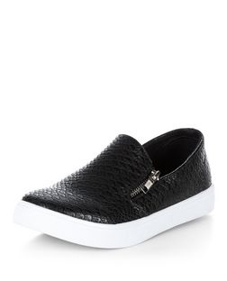 Black Snakeskin Print Side Slip On Plimsolls  | New Look
