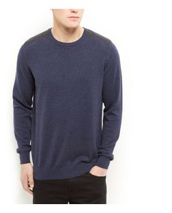 Navy Cotton Shoulder Patch Jumper | New Look