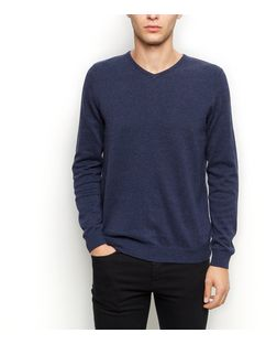 Navy Cotton V Neck Jumper | New Look