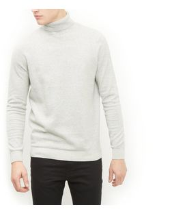 Light Grey Cotton Basic Turtle Neck Jumper | New Look
