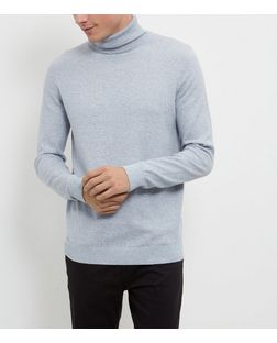 Light Blue Cotton Basic Turtle Neck Jumper | New Look