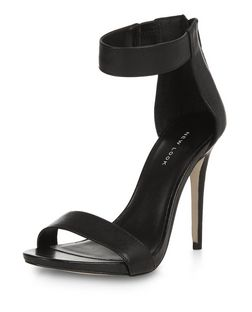 Black Leather Ankle Strap Platform Heels | New Look