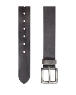 Black Distressed Leather Belt  | New Look