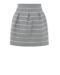 Black Bandage Stripe Skater Skirt  | New Look