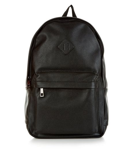 Black Leather-Look Backpack | New Look