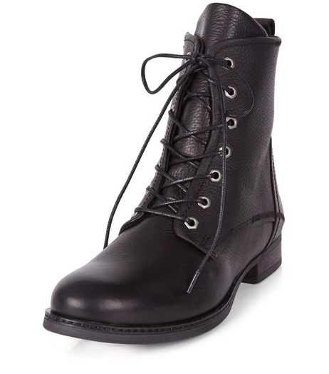 Black Leather Lace Up Boots  | New Look