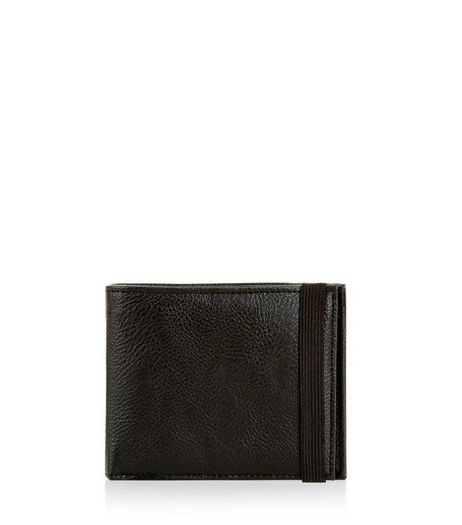 Black Leather-Look Elasticated Strap Wallet  | New Look