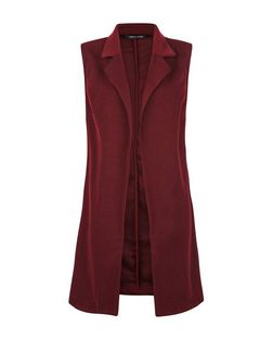 Burgundy Textured Sleeveless Jacket  | New Look