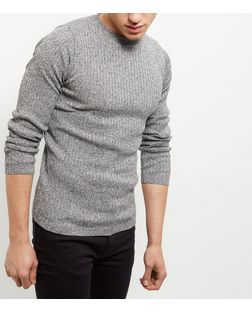 Black Contrast Twist Ribbed Knit Jumper | New Look