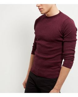 Red Twist Ribbed Knit Jumper | New Look