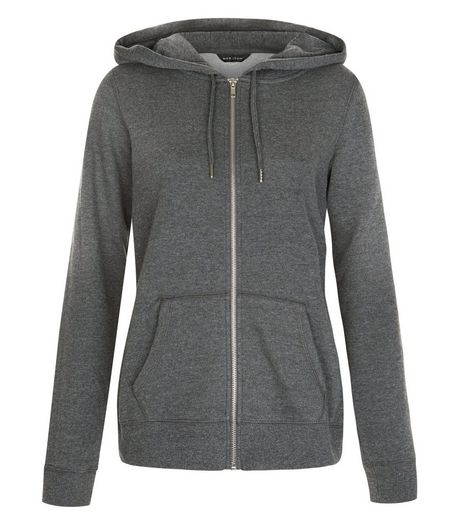 Dark Grey Basic Zip Up Hoodie | New Look