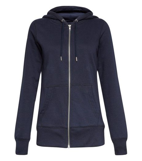 Navy Basic Zip Up Hoodie | New Look
