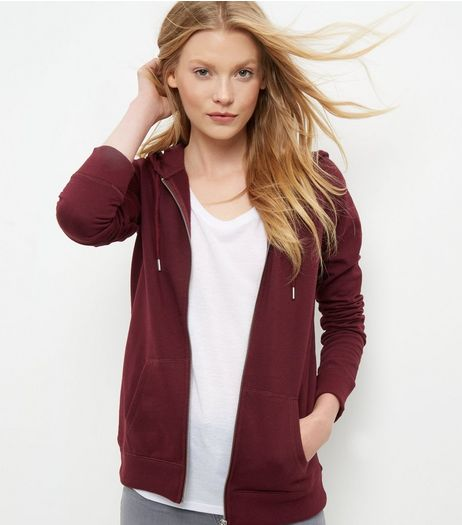 Dark Red Basic Zip Up Hoodie | New Look