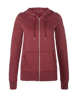 Burgundy Basic Zip Up Hoodie | New Look