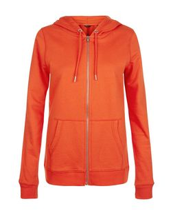 Bright Orange Basic Zip Up Hoodie | New Look