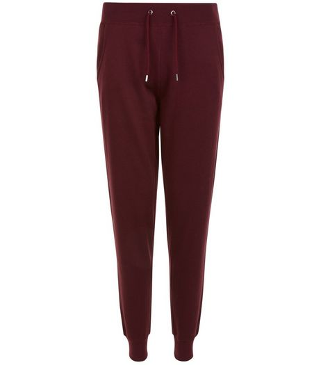 Dark Red Slim Leg Joggers  | New Look