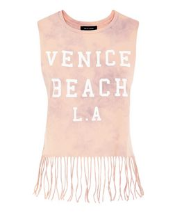 Pink Tie Dye Venice Beach Tassel Hem Top  | New Look