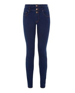 Tall 36in Blue High Waisted Supersoft Super Skinny Jeans  | New Look